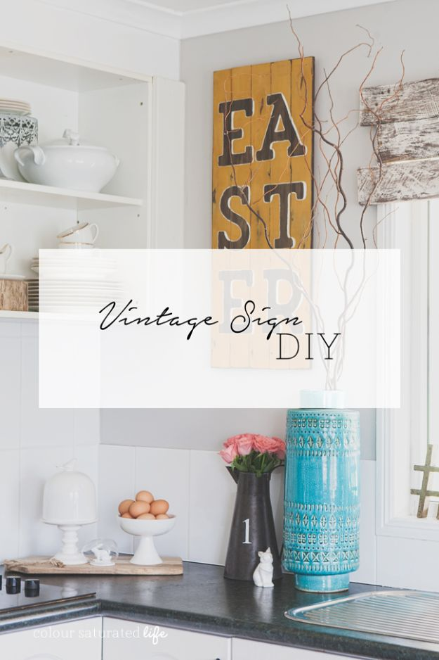 DIY Vintage Signs - Vintage Sign Colour Saturated - Rustic, Vintage Sign Projects to Make At Home - Creative Home Decor on a Budget and Cheap Crafts for Living Room, Bedroom and Kitchen - Paint Letters, Transfer to Wood, Aged Finishes and Fun Word Stencils and Easy Ideas for Farmhouse Wall Art http://diyjoy.com/diy-vintage-signs