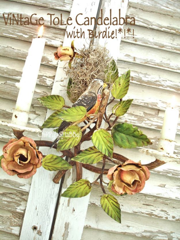 DIY Shabby Chic Decor Ideas - Vintage Tole Candelabra with Birdie - French Farmhouse and Vintage White Linens - Bedroom, Living Room, Bathroom Ideas, Distressed Furniture and Boho Crafts - Cheap Dollar Store Projects and Upcycle Repurposed Home Decor #diyideas #shabbychic #diyhomedecor