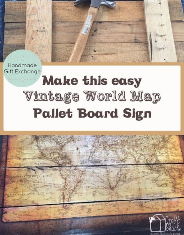 DIY Vintage Signs - Vintage World Map Pallet Board Sign - Rustic, Vintage Sign Projects to Make At Home - Creative Home Decor on a Budget and Cheap Crafts for Living Room, Bedroom and Kitchen - Paint Letters, Transfer to Wood, Aged Finishes and Fun Word Stencils and Easy Ideas for Farmhouse Wall Art http://diyjoy.com/diy-vintage-signs