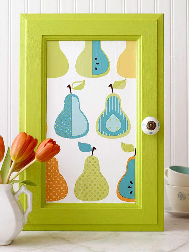 DIY Kitchen Cabinet Ideas - Wallpapered Cabinet Door - Makeover and Before and After - How To Build, Plan and Renovate Your Kitchen Cabinets - Painted, Cheap Refact, Free Plans, Rustic Decor, Farmhouse and Vintage Looks, Modern Design and Inexpensive Budget Friendly Projects http://diyjoy.com/diy-kitchen-cabinets