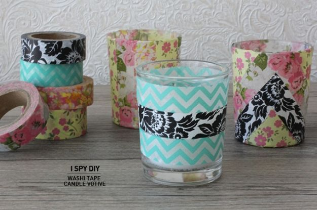 DIY Candle Holders - Washi Tape Candle Votive - Easy Ideas for Home Decor With Candles, Tall Candlesticks and Votives - Fun Wooden, Rustic, Glass, Mason Jar, Boho and Projects With Items From Dollar Stores - Christmas, Holiday and Wedding Centerpieces - Cool Crafts and Homemade Cheap Gifts http://diyjoy.com/diy-candle-holders