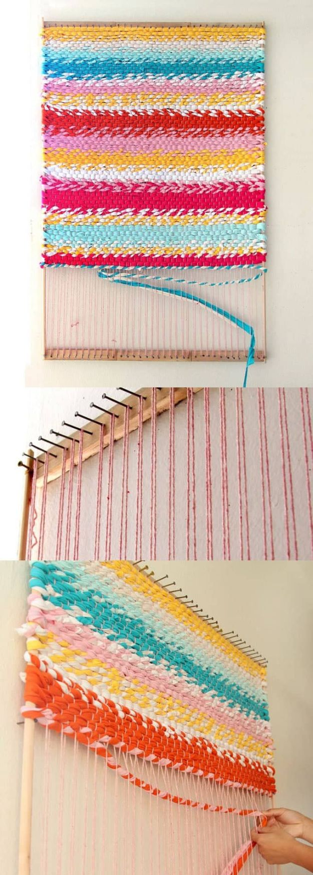 DIY Rugs - Weave A T-Shirt Rug With Easy DIY Loom - Ideas for An Easy Handmade Rug for Living Room, Bedroom, Kitchen Mat and Cheap Area Rugs You Can Make - Stencil Art Tutorial, Painting Tips, Fabric, Yarn, Old Denim Jeans, Rope, Tshirt, Pom Pom, Fur, Crochet, Woven and Outdoor Projects - Large and Small Carpet #diyrugs #diyhomedecor