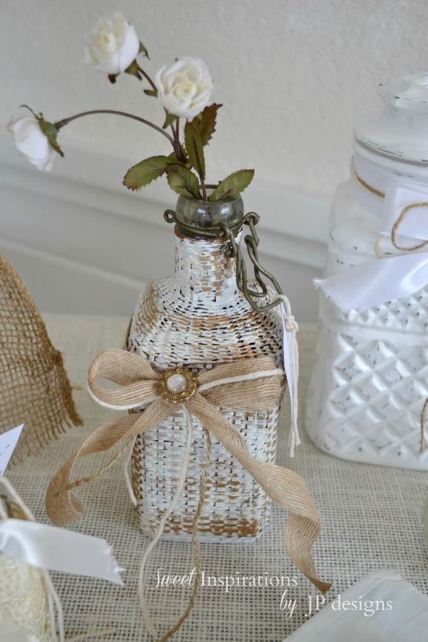 DIY Shabby Chic Decor Ideas - Wicker Covered Glass Bottle Vase - French Farmhouse and Vintage White Linens - Bedroom, Living Room, Bathroom Ideas, Distressed Furniture and Boho Crafts - Cheap Dollar Store Projects and Upcycle Repurposed Home Decor #diyideas #shabbychic #diyhomedecor