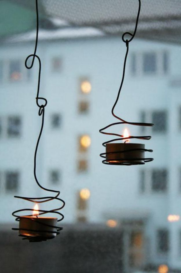 DIY Candle Holders - Wired Tea Light Holder - Easy Ideas for Home Decor With Candles, Tall Candlesticks and Votives - Fun Wooden, Rustic, Glass, Mason Jar, Boho and Projects With Items From Dollar Stores - Christmas, Holiday and Wedding Centerpieces - Cool Crafts and Homemade Cheap Gifts http://diyjoy.com/diy-candle-holders
