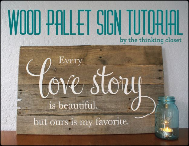 DIY Vintage Signs - Wood Pallet Sign Tutorial - Rustic, Vintage Sign Projects to Make At Home - Creative Home Decor on a Budget and Cheap Crafts for Living Room, Bedroom and Kitchen - Paint Letters, Transfer to Wood, Aged Finishes and Fun Word Stencils and Easy Ideas for Farmhouse Wall Art http://diyjoy.com/diy-vintage-signs