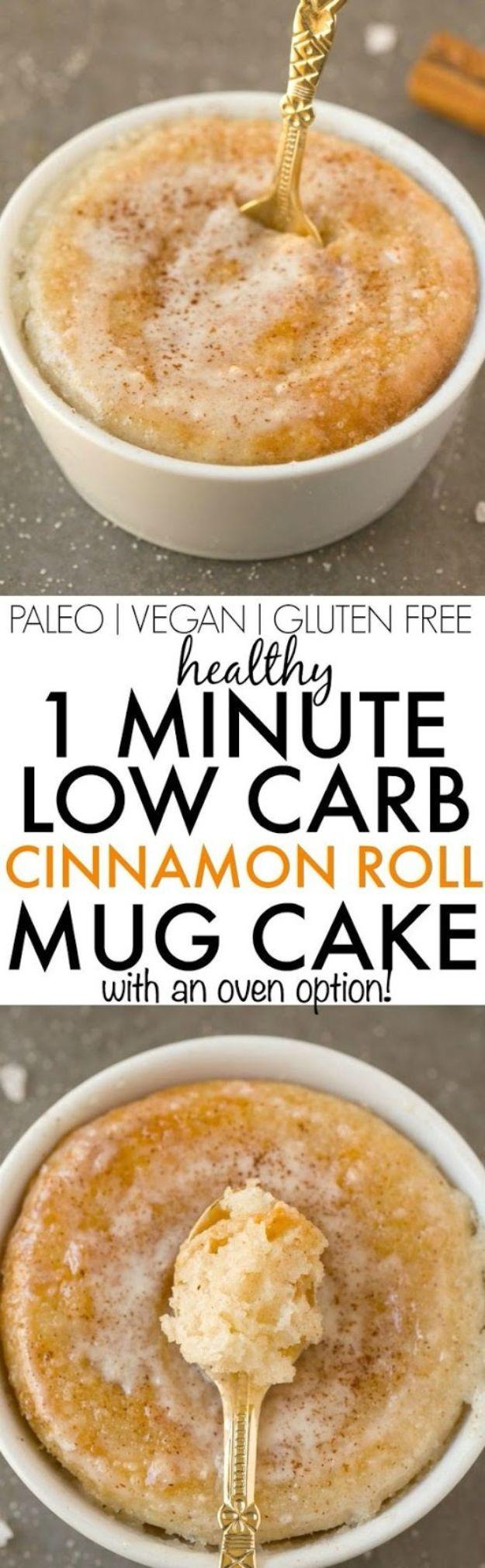 Best Keto Recipes Dessert- 1 Minute Low Carb Cinnamon Roll Mug Cake - Easy Keto Dessert Recipes - How to Make Keto Mug Cake -Quick Desserts for Keto Diet - Gluten Free Dessert Microwave -Low Carb Recipes Pinterest