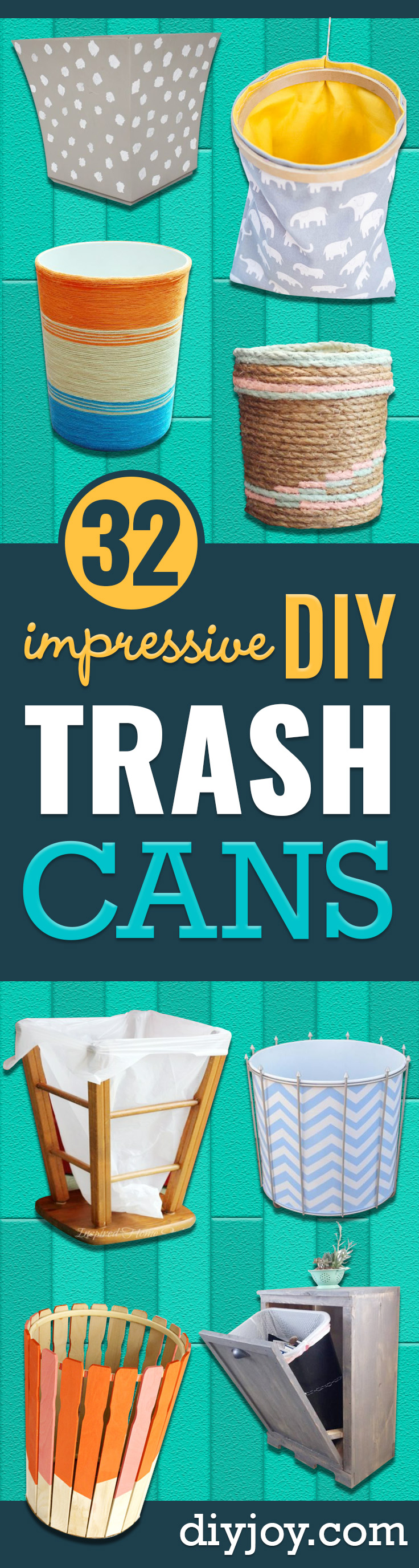 DIY Trash Cans - Easy Do It Yourself Projects to Make Cute, Decorative Trash Cans for Bathroom, Kitchen and Bedroom - Trash Can Makeover, Hidden Kitchen Storage With Pull Out Cabinet - Lids, Liners and Painted Decor Ideas for Updating the Bin #diykitchen #diybath #trashcans #diy #diyideas #diyjoy http://diyjoy.com/diy-trash-cans