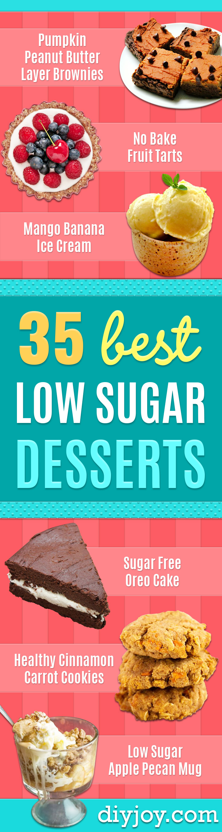 Low Sugar Dessert Recipes - Healthy Desserts and Ideas for Healthy Sweets Without Much Sugar - Raw Foods and Easy Clean Eating Dessert Tips, Keto Diet Snacks - Chocolate, Gluten Free, Cakes, Fruit Dips, No Bake, Stevia and Sweetener Options - Diabetic Diets and Diabetes Recipe Ideas for Desserts #recipes #recipeideas #lowsugar #nosugar #lowcalorie #diyjoy #dessertrecipes http://diyjoy.com/low-sugar-dessert-recipes