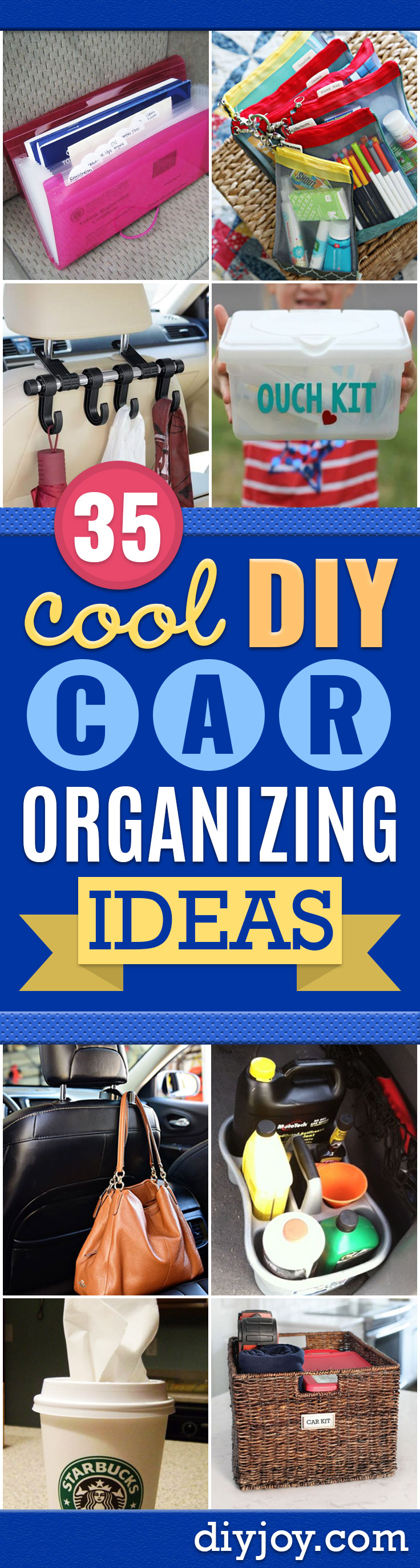 Car Organization Ideas - DIY Tips and Tricks for Organizing Cars - Dollar Store Storage Projects for Mom, Kids and Teens - Keep Your Car, Truck or SUV Clean On A Road Trip With These solutions for interiors and Trunk, Front Seat - Do It Yourself Caddy and Easy, Cool Lifehacks http://diyjoy.com/car-organizing-ideas