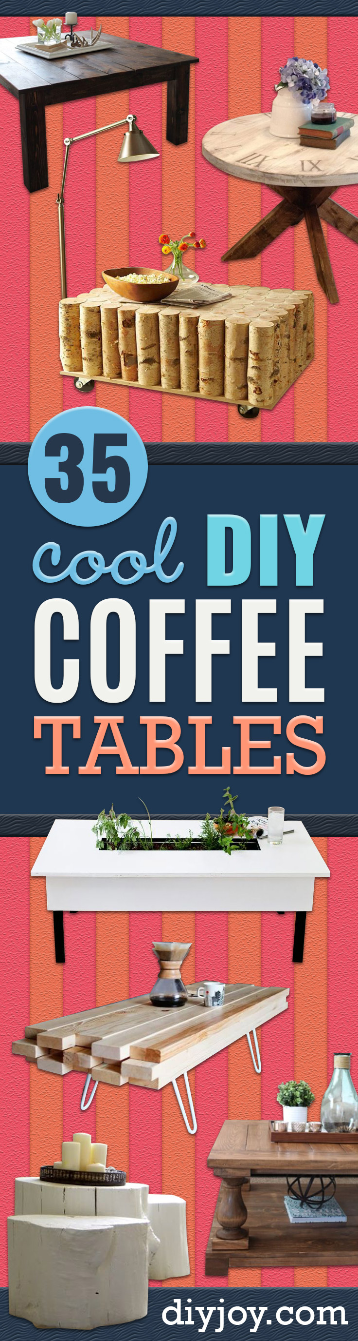 DIY Coffee Tables - Easy Do It Yourself Furniture Ideas for The Living Room Table - Cool Projects for Making a Coffee Table With Crates, Boxes, Stone, Industrial Pipe, Tile, Pallets, Old Doors, Windows and Repurposed Wood Planks - Rustic Farmhouse Home Decor, Modern Decorating Ideas, Simply Shabby Chic and All White Looks for Minimalist Interiors http://diyjoy.com/diy-coffee-table-ideas