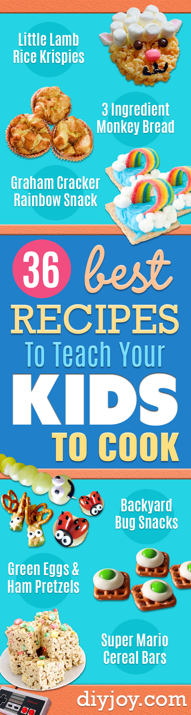 Best Recipes To Teach Your Kids To Cook - Easy Ideas To Show Children How to Prepare Food - Kid Friendly Recipes That Boys and Girls Can Make Themselves - No Bake, 5 Minute Foods, Healthy Snacks, Salads, Dips, Roll Ups, Vegetables and Simple Desserts - Recipes To Learn How To Make Fun Food http://diyjoy.com/best-recipes-teach-kids-to-cook