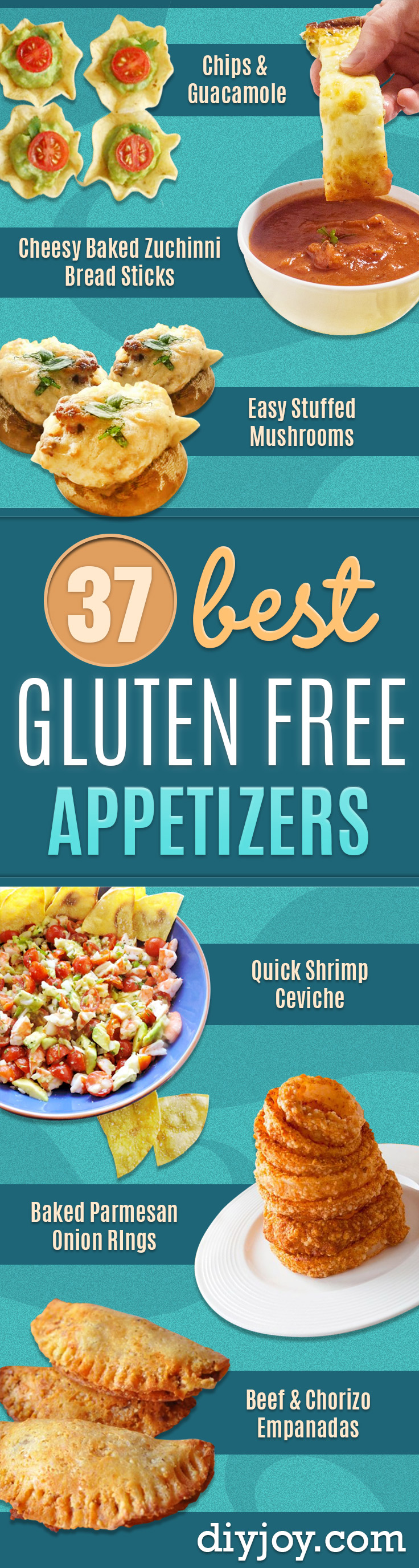 Gluten Free Appetizers - Easy Flourless and Glutenfree Snacks, Wraps, Finger Foods and Snack Recipes - Recipe Ideas for Gluten Free Diets - Spinach and Cheese Dips, Vegetable Spreads, Sushi rolls, Quick Grill Foods, Party Trays, Dessert Bites, Healthy Veggie and Fruit Appetizer Tutorials #glutenfree #appetizers #appetizerrecipes #glutenfreerecipes #recipeideas #diyjoy http://diyjoy.com/gluten-free-appetizers