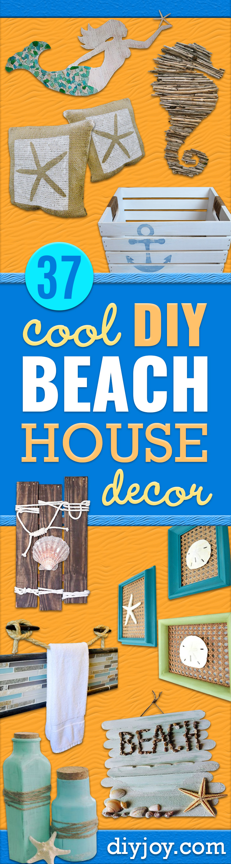 DIY Beach House Decor - Cool DIY Decor Ideas While On A Budget - Cool Ideas for Decorating Your Beach Home With Shells, Sand and Summer Wall Art - Crafts and Do It Yourself Projects With A Breezy, Blue, Summery Feel - White Decor and Shiplap, Birchwood Boats, Beachy Sea Glass Art Projects for Living Room, Bedroom and Kitchen