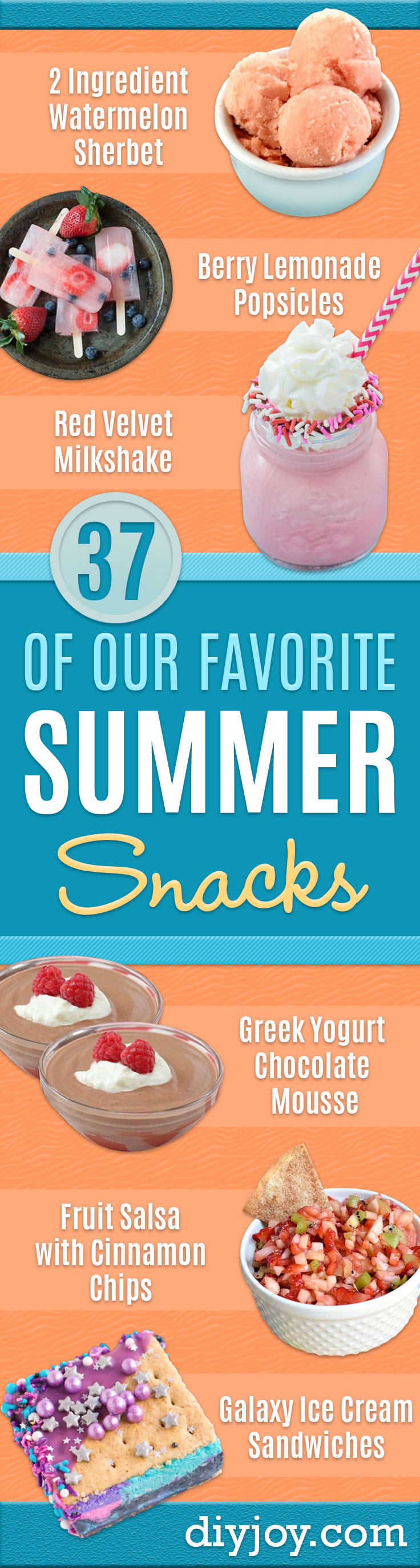 Best Summer Snacks and Snack Recipes - Quick And Easy Snack Ideas for After Workout, School, Work - Mid Day Treats, Best Small Desserts, Simple and Fast Things To Make In Minutes - Healthy Snacking Foods Made With Vegetables, Cheese, Yogurt, Fruit and Gluten Free Options - Kids Love Making These Sweets, Popsicles, Drinks, Smoothies and Fun Foods - Refreshing and Cool Options for Eating Outside on a Hot Day http://diyjoy.com/best-summer-snacks