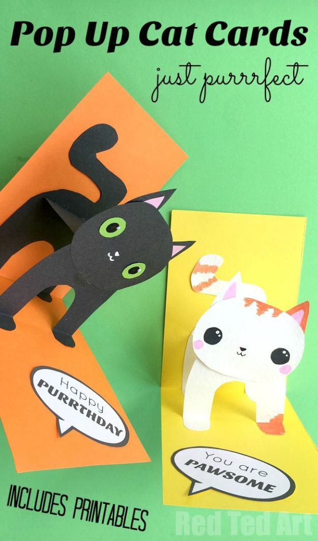 DIY Birthday Cards - 3D Cat Card DIY - Easy and Cheap Handmade Birthday Cards To Make At Home - Cute Card Projects With Step by Step Tutorials are Perfect for Birthdays for Mom, Dad, Kids and Adults - Pop Up and Folded Cards, Creative Gift Card Holders and Fun Ideas With Cake #birthdayideas #birthdaycards