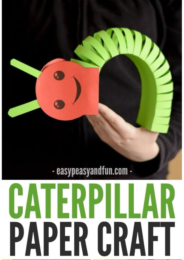 Crafts for Boys - 3D Caterpillar Paper Craft - Cute Crafts for Young Boys, Toddlers and School Children - Fun Paints to Make, Arts and Craft Ideas, Wall Art Projects, Colorful Alphabet and Glue Crafts, String Art, Painting Lessons, Cheap Project Tutorials and Inexpensive Things for Kids to Make at Home - Cute Room Decor and DIY Gifts to Make for Mom and Dad #diyideas #kidscrafts #craftsforboys