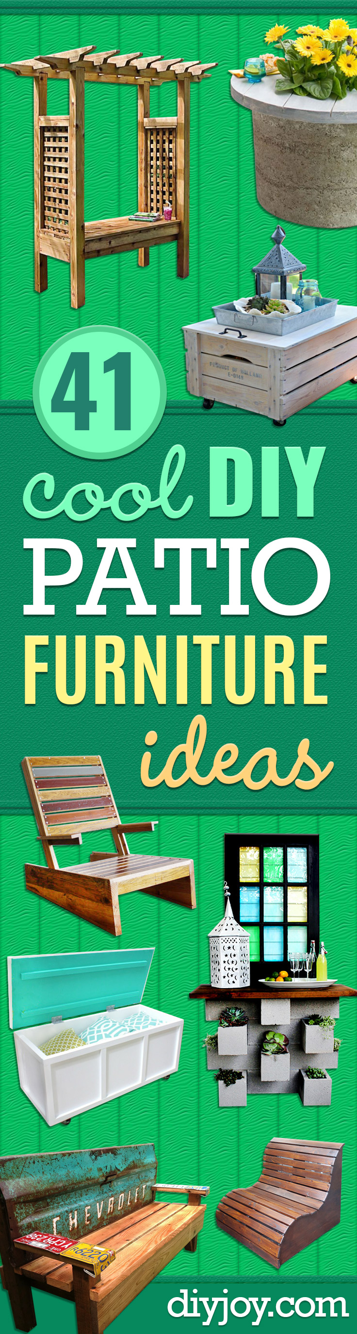 DIY Patio Furniture Ideas - Cheap Do It Yourself Porch and Easy Backyard Furniture, Rocking Chairs, Swings, Benches, Stools and Seating Tutorials - Dining Tables from Pallets, Cinder Blocks and Upcyle Ideas - Sectional Couch Plans With Cushions - Makeover Tips for Existing Furniture #diyideas #outdoors #diy #backyardideas #diyfurniture #patio #diyjoy http://diyjoy.com/diy-patio-furniture-ideas