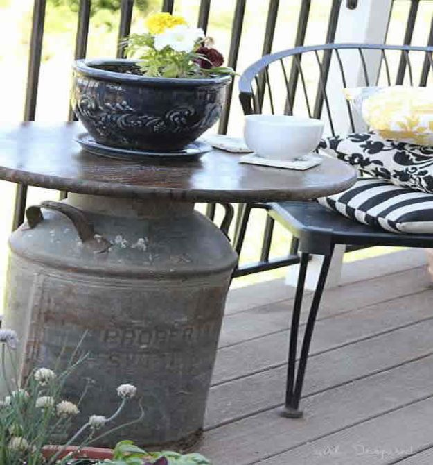 DIY Patio Furniture Ideas - Antique Milk Can Side Table - Cheap Do It Yourself Porch and Easy Backyard Furniture, Rocking Chairs, Swings, Benches, Stools and Seating Tutorials - Dining Tables from Pallets, Cinder Blocks and Upcyle Ideas - Sectional Couch Plans With Cushions - Makeover Tips for Existing Furniture #diyideas #outdoors #diy #backyardideas #diyfurniture #patio #diyjoy http://diyjoy.com/diy-patio-furniture-ideas