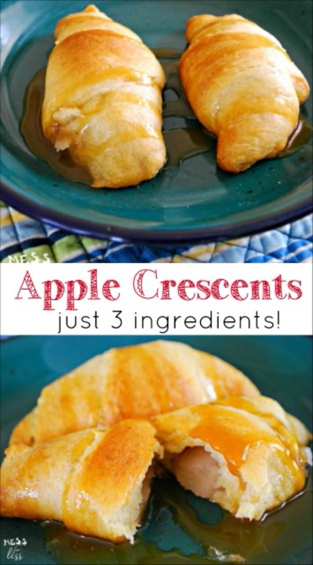 Best Recipes To Teach Your Kids To Cook - Apple Crescents - Easy Ideas To Show Children How to Prepare Food - Kid Friendly Recipes That Boys and Girls Can Make Themselves - No Bake, 5 Minute Foods, Healthy Snacks, Salads, Dips, Roll Ups, Vegetables and Simple Desserts - Recipes To Learn How To Make Fun Food http://diyjoy.com/best-recipes-teach-kids-to-cook