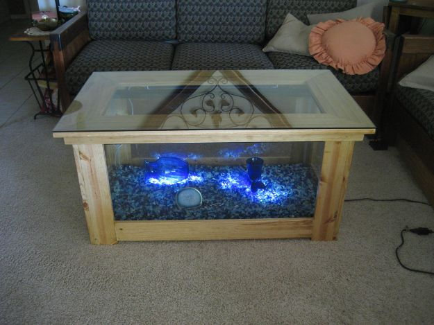 DIY Coffee Tables - Aquarium Coffee Table - Easy Do It Yourself Furniture Ideas for The Living Room Table - Cool Projects for Making a Coffee Table With Crates, Boxes, Stone, Industrial Pipe, Tile, Pallets, Old Doors, Windows and Repurposed Wood Planks - Rustic Farmhouse Home Decor, Modern Decorating Ideas, Simply Shabby Chic and All White Looks for Minimalist Interiors http://diyjoy.com/diy-coffee-table-ideas