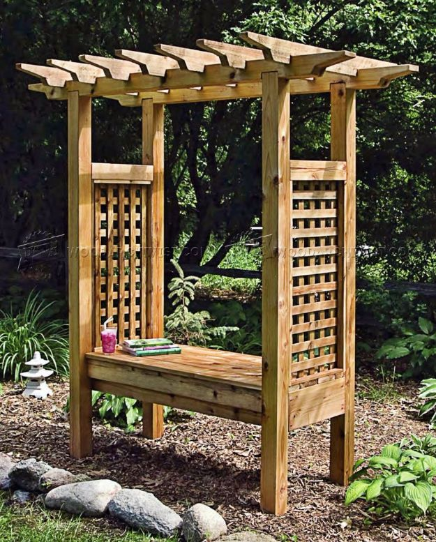 DIY Patio Furniture Ideas -Arbor Bench - Cheap Do It Yourself Porch and Easy Backyard Furniture, Rocking Chairs, Swings, Benches, Stools and Seating Tutorials - Dining Tables from Pallets, Cinder Blocks and Upcyle Ideas - Sectional Couch Plans With Cushions - Makeover Tips for Existing Furniture #diyideas #outdoors #diy #backyardideas #diyfurniture #patio #diyjoy http://diyjoy.com/diy-patio-furniture-ideas