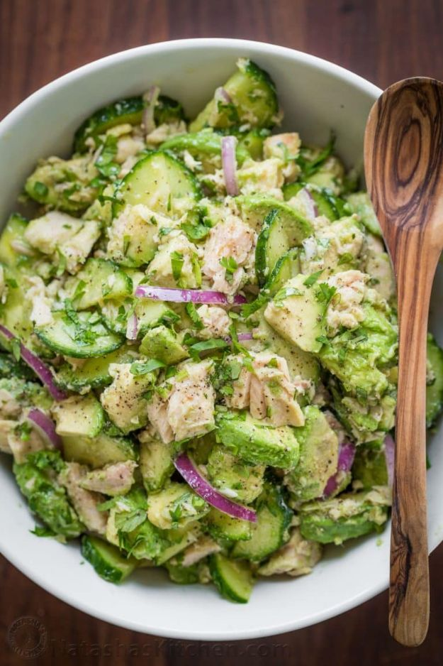 Best Keto Recipes - Avocado Tuna Salad - Easy Ketogenic Recipe Ideas for Breakfast, Lunch, Dinner, Snack and Dessert - Quick Crockpot Meals, Fat Bombs, Gluten Free and Low Carb Foods To Make For The Keto Diet #keto #ketorecipes #ketodiet