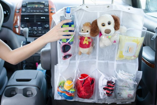 Car Organization Ideas - Back Seat Pocket - DIY Tips and Tricks for Organizing Cars - Dollar Store Storage Projects for Mom, Kids and Teens - Keep Your Car, Truck or SUV Clean On A Road Trip With These solutions for interiors and Trunk, Front Seat - Do It Yourself Caddy and Easy, Cool Lifehacks http://diyjoy.com/car-organizing-ideas