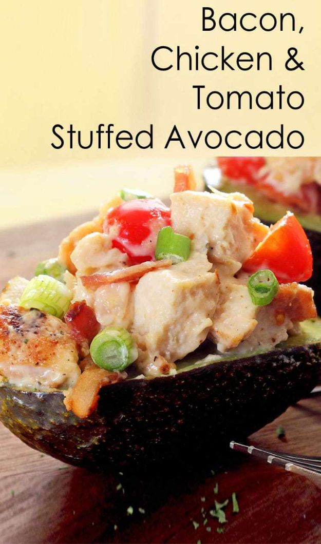 Best Keto Recipes - Bacon, Chicken & Tomato Stuffed Avocado - Easy Ketogenic Recipe Ideas for Breakfast, Lunch, Dinner, Snack and Dessert - Quick Crockpot Meals, Fat Bombs, Gluten Free and Low Carb Foods To Make For The Keto Diet #keto #ketorecipes #ketodiet