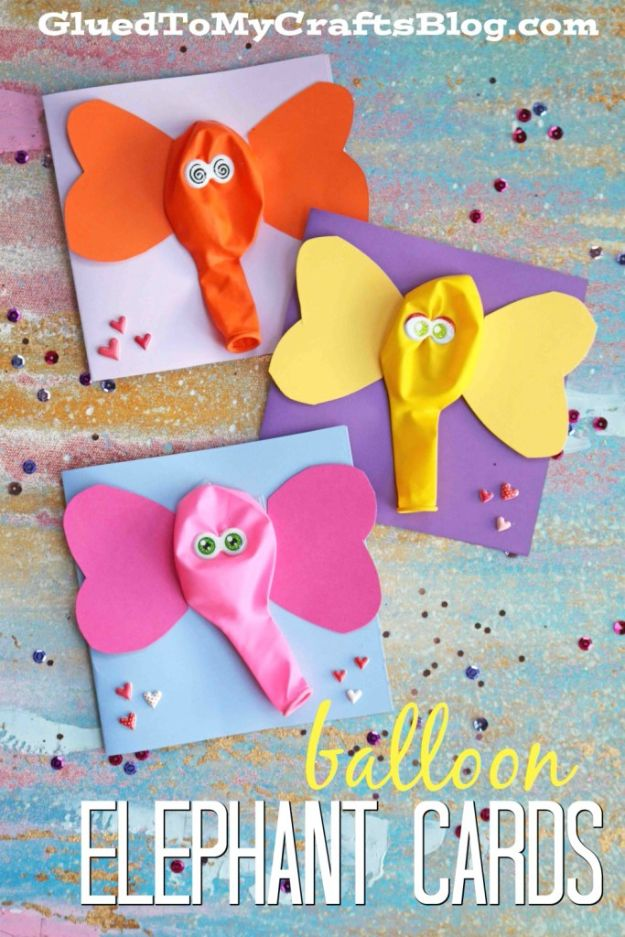 Crafts for Boys - Balloon Elephant Card Craft - Cute Crafts for Young Boys, Toddlers and School Children - Fun Paints to Make, Arts and Craft Ideas, Wall Art Projects, Colorful Alphabet and Glue Crafts, String Art, Painting Lessons, Cheap Project Tutorials and Inexpensive Things for Kids to Make at Home - Cute Room Decor and DIY Gifts to Make for Mom and Dad http://diyjoy.com/crafts-for-boys