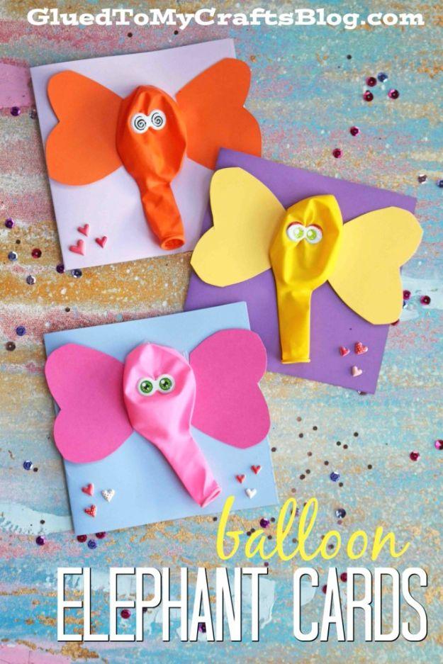 Crafts for Boys - Balloon Elephant Card Craft - Cute Crafts for Young Boys, les tout-petits et les écoliers - Peintures amusantes à faire, idées d'art et de bricolage, projets d'art mural, Colorful Alphabet and Glue Crafts, String Art, leçons de peinture, tutoriels de projets bon marché et choses peu coûteuses à faire à la maison pour les enfants - Décoration de chambre mignonne et cadeaux DIY à faire pour maman et papa #diyideas #kidscrafts #craftsforboys