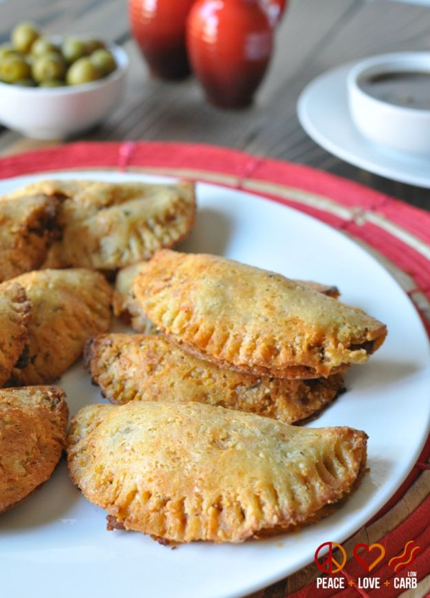 Gluten Free Appetizers - Beef And Chorizo Low Carb Empanadas - Easy Flourless and Glutenfree Snacks, Wraps, Finger Foods and Snack Recipes - Recipe Ideas for Gluten Free Diets - Spinach and Cheese Dips, Vegetable Spreads, Sushi rolls, Quick Grill Foods, Party Trays, Dessert Bites, Healthy Veggie and Fruit Appetizer Tutorials #glutenfree #appetizers #appetizerrecipes #glutenfreerecipes #recipeideas #diyjoy http://diyjoy.com/gluten-free-appetizers