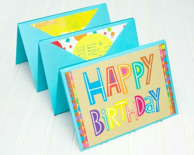 DIY Birthday Cards - Birthday Card Accordion - Easy and Cheap Handmade Birthday Cards To Make At Home - Cute Card Projects With Step by Step Tutorials are Perfect for Birthdays for Mom, Dad, Kids and Adults - Pop Up and Folded Cards, Creative Gift Card Holders and Fun Ideas With Cake http://diyjoy.com/diy-birthday-cards