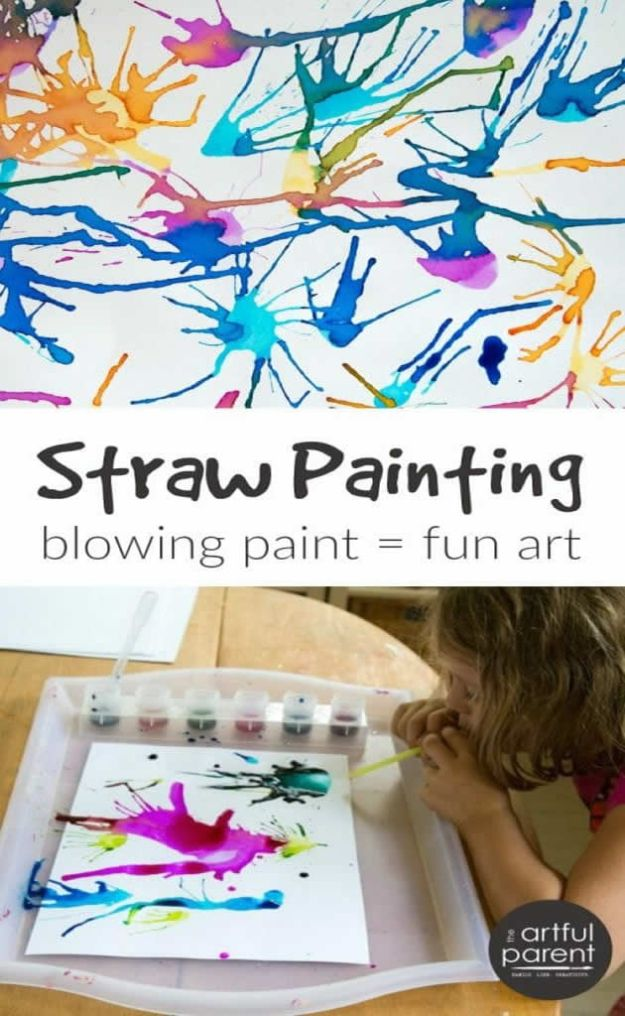 Crafts for Boys - Blow Painting Fun Art With A Straw - Cute Crafts for Young Boys, Toddlers and School Children - Fun Paints to Make, Arts and Craft Ideas, Wall Art Projects, Colorful Alphabet and Glue Crafts, String Art, Painting Lessons, Cheap Project Tutorials and Inexpensive Things for Kids to Make at Home - Cute Room Decor and DIY Gifts to Make for Mom and Dad #diyideas #kidscrafts #craftsforboys