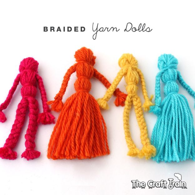 Crafts for Girls - Braided Yarn Dolls - Cute Crafts for Young Girls, Toddlers and School Children - Fun Paints to Make, Arts and Craft Ideas, Wall Art Projects, Colorful Alphabet and Glue Crafts, String Art, Painting Lessons, Cheap Project Tutorials and Inexpensive Things for Kids to Make at Home - Cute Room Decor and DIY Gifts #girlsgifts #girlscrafts #craftideas #girls