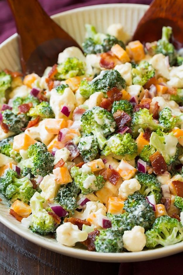Best Keto Recipes - Broccoli and Cauliflower Salad - Easy Ketogenic Recipe Ideas for Breakfast, Lunch, Dinner, Snack and Dessert - Quick Crockpot Meals, Fat Bombs, Gluten Free and Low Carb Foods To Make For The Keto Diet