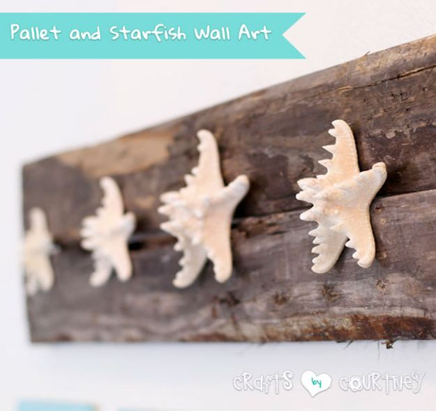 DIY Beach House Decor - Build A Beachy Pallet And Starfish Wall Craft - Cool DIY Decor Ideas While On A Budget - Cool Ideas for Decorating Your Beach Home With Shells, Sand and Summer Wall Art - Crafts and Do It Yourself Projects With A Breezy, Blue, Summery Feel - White Decor and Shiplap, Birchwood Boats, Beachy Sea Glass Art Projects for Living Room, Bedroom and Kitchen