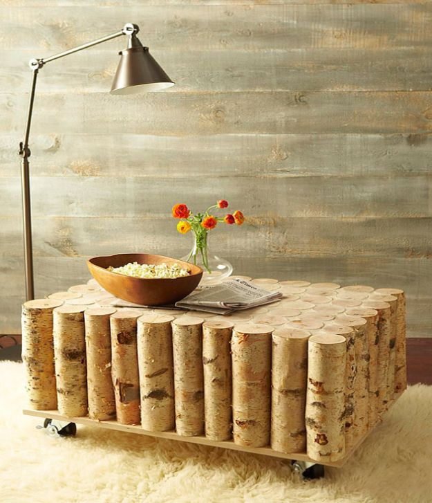 DIY Coffee Tables - Build A Birch Log Coffee Table - Easy Do It Yourself Furniture Ideas for The Living Room Table - Cool Projects for Making a Coffee Table With Crates, Boxes, Stone, Industrial Pipe, Tile, Pallets, Old Doors, Windows and Repurposed Wood Planks - Rustic Farmhouse Home Decor, Modern Decorating Ideas, Simply Shabby Chic and All White Looks for Minimalist Interiors http://diyjoy.com/diy-coffee-table-ideas