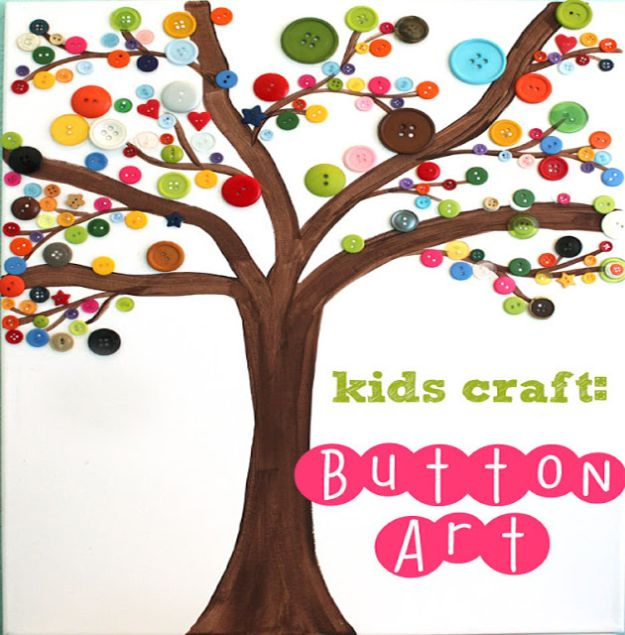 Crafts for Boys - Button Art - Cute Crafts for Young Boys, Toddlers and School Children - Fun Paints to Make, Arts and Craft Ideas, Wall Art Projects, Colorful Alphabet and Glue Crafts, String Art, Painting Lessons, Cheap Project Tutorials and Inexpensive Things for Kids to Make at Home - Cute Room Decor and DIY Gifts to Make for Mom and Dad #diyideas #kidscrafts #craftsforboys