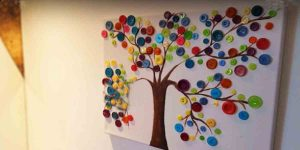 After Painting A Tree On Canvas She Glues Buttons On The Branches Creating Amazing Art!