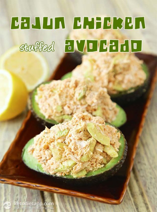 Best Keto Recipes - Cajun Chicken Stuffed Avocado - Easy Ketogenic Recipe Ideas for Breakfast, Lunch, Dinner, Snack and Dessert - Quick Crockpot Meals, Fat Bombs, Gluten Free and Low Carb Foods To Make For The Keto Diet #keto #ketorecipes #ketodiet