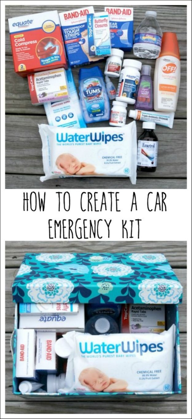 Car Organization Ideas - Car Emergency Kit - DIY Tips and Tricks for Organizing Cars - Dollar Store Storage Projects for Mom, Kids and Teens - Keep Your Car, Truck or SUV Clean On A Road Trip With These solutions for interiors and Trunk, Front Seat - Do It Yourself Caddy and Easy, Cool Lifehacks #car #diycar #organizingideas