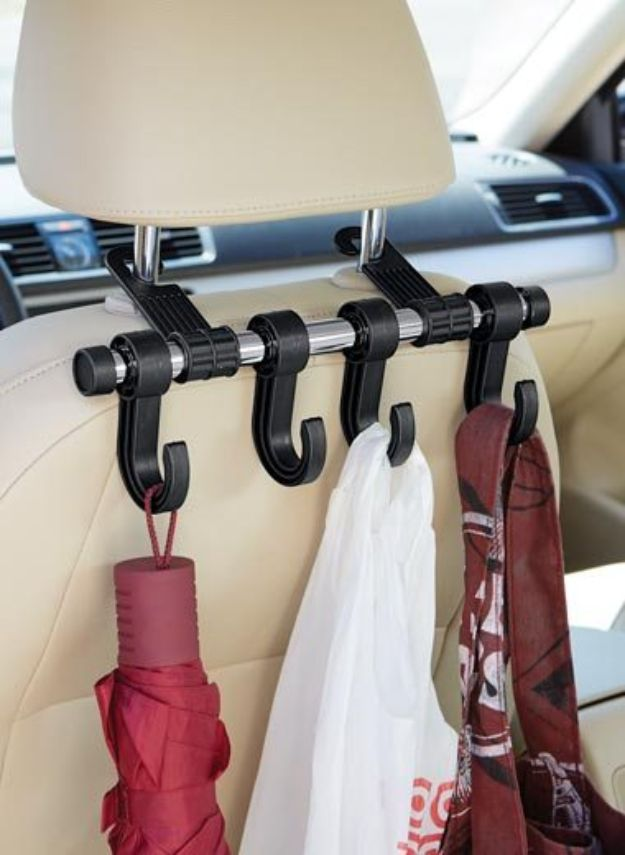 Car Organization Ideas - Car Seat Hanger - DIY Tips and Tricks for Organizing Cars - Dollar Store Storage Projects for Mom, Kids and Teens - Keep Your Car, Truck or SUV Clean On A Road Trip With These solutions for interiors and Trunk, Front Seat - Do It Yourself Caddy and Easy, Cool Lifehacks #car #diycar #organizingideas