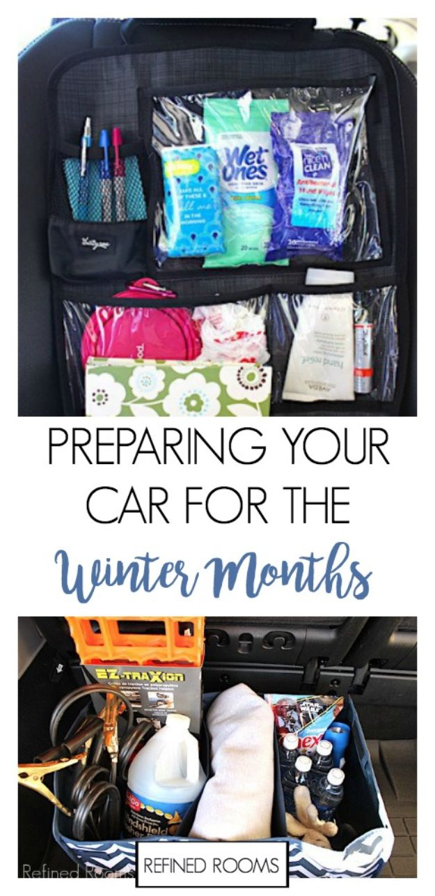 Car Organization Ideas - Car Winter Organization - DIY Tips and Tricks for Organizing Cars - Dollar Store Storage Projects for Mom, Kids and Teens - Keep Your Car, Truck or SUV Clean On A Road Trip With These solutions for interiors and Trunk, Front Seat - Do It Yourself Caddy and Easy, Cool Lifehacks #car #diycar #organizingideas