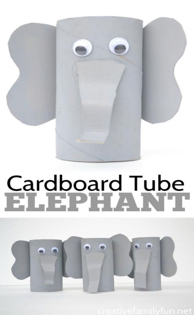 Crafts for Boys - Cardboard Tube Elephant Craft - Cute Crafts for Young Boys, Toddlers and School Children - Fun Paints to Make, Arts and Craft Ideas, Wall Art Projects, Colorful Alphabet and Glue Crafts, String Art, Painting Lessons, Cheap Project Tutorials and Inexpensive Things for Kids to Make at Home - Cute Room Decor and DIY Gifts to Make for Mom and Dad #diyideas #kidscrafts #craftsforboys