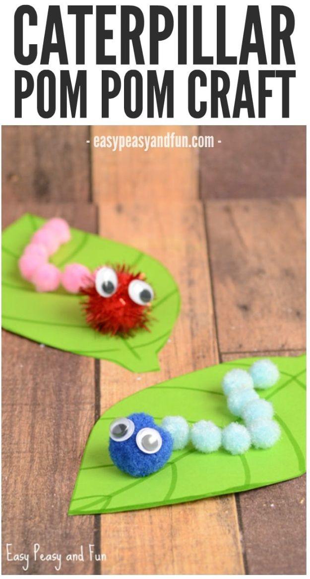 Crafts for Girls - Caterpillar Pom Pom Craft - Cute Crafts for Young Girls, Toddlers and School Children - Fun Paints to Make, Arts and Craft Ideas, Wall Art Projects, Colorful Alphabet and Glue Crafts, String Art, Painting Lessons, Cheap Project Tutorials and Inexpensive Things for Kids to Make at Home - Cute Room Decor and DIY Gifts to Make for Mom and Dad http://diyjoy.com/crafts-for-girls