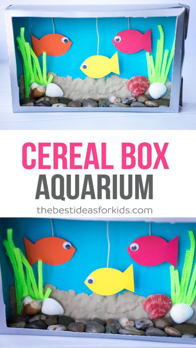 Crafts for Boys - Cereal Box Aquarium Craft - Cute Crafts for Young Boys, Toddlers and School Children - Fun Paints to Make, Arts and Craft Ideas, Wall Art Projects, Colorful Alphabet and Glue Crafts, String Art, Painting Lessons, Cheap Project Tutorials and Inexpensive Things for Kids to Make at Home - Cute Room Decor and DIY Gifts to Make for Mom and Dad #diyideas #kidscrafts #craftsforboys