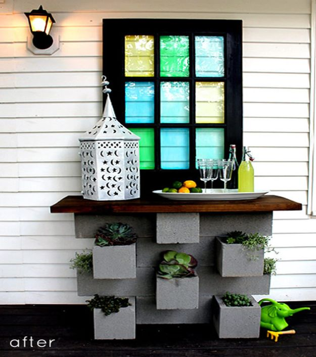 DIY Patio Furniture Ideas - Cinder Block Planter Bar - Cheap Do It Yourself Porch and Easy Backyard Furniture, Rocking Chairs, Swings, Benches, Stools and Seating Tutorials - Dining Tables from Pallets, Cinder Blocks and Upcyle Ideas - Sectional Couch Plans With Cushions - Makeover Tips for Existing Furniture #diyideas #outdoors #diy #backyardideas #diyfurniture #patio #diyjoy http://diyjoy.com/diy-patio-furniture-ideas
