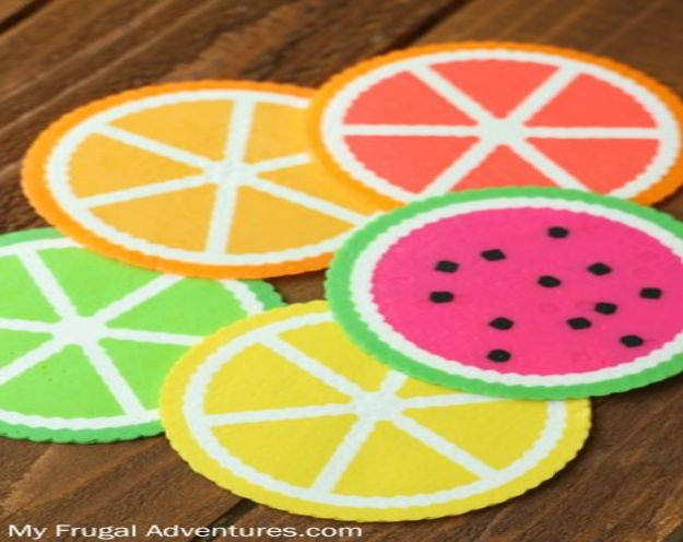 Crafts for Girls - Citrus Perler Bead Coasters - Cute Crafts for Young Girls, Toddlers and School Children - Fun Paints to Make, Arts and Craft Ideas, Wall Art Projects, Colorful Alphabet and Glue Crafts, String Art, Painting Lessons, Cheap Project Tutorials and Inexpensive Things for Kids to Make at Home - Cute Room Decor and DIY Gifts #girlsgifts #girlscrafts #craftideas #girls