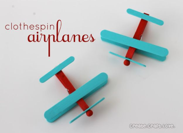 Crafts for Boys - Clothespin Airplanes - Cute Crafts for Young Boys, Toddlers and School Children - Fun Paints to Make, Arts and Craft Ideas, Wall Art Projects, Colorful Alphabet and Glue Crafts, String Art, Painting Lessons, Cheap Project Tutorials and Inexpensive Things for Kids to Make at Home - Cute Room Decor and DIY Gifts to Make for Mom and Dad #diyideas #kidscrafts #craftsforboys