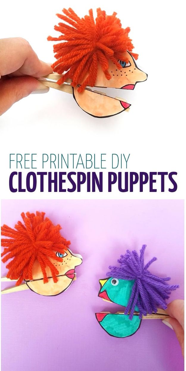 Crafts for Girls - Clothespin Paper Puppets - Cute Crafts for Young Girls, Toddlers and School Children - Fun Paints to Make, Arts and Craft Ideas, Wall Art Projects, Colorful Alphabet and Glue Crafts, String Art, Painting Lessons, Cheap Project Tutorials and Inexpensive Things for Kids to Make at Home - Cute Room Decor and DIY Gifts #girlsgifts #girlscrafts #craftideas #girls